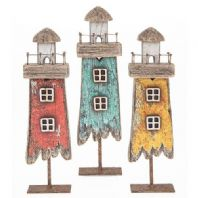 Harbour Side Light house. Wooden Free Standing Ornament....